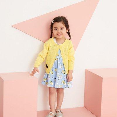 【2件2.5折價:37.3】Moomoo童裝女幼童針織衫春季新款兒童小寶寶鏤空長袖開衫