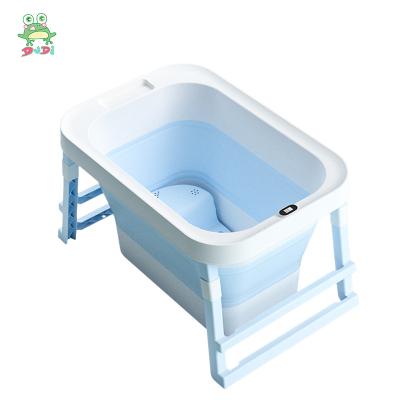 DuDi/青蛙嘟迪 母嬰幼兒童嬰兒浴盆寶寶洗澡盆兒童可折疊大號加厚洗澡桶可坐可躺小孩泡澡沐浴盆 藍色