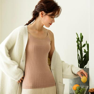 俞兆林冬季双层加绒加厚保暖背心女上衣小吊带修身显瘦保暖内衣批发