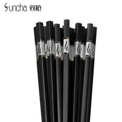 双枪(Suncha)合金筷 不锈不发霉家用筷子 礼品酒店日式筷 10双装 KZ4080-Y银色(新老包装随机发放)