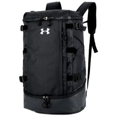 安德玛UA新户外运动登山旅游轻便中性双肩背包桶包单肩斜跨健身包【定制】 黑色 36-55升