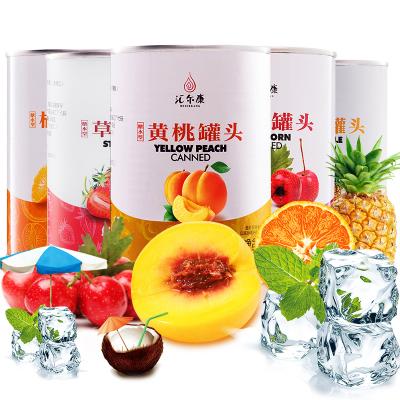 汇尔康 新鲜水果糖水罐头425g/罐整箱  黄桃+草莓+橘子+山楂+菠萝 各1罐