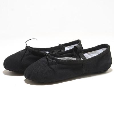 新款成人儿童舞蹈鞋女童男软底系带练功鞋瑜伽芭蕾舞鞋帆布小孩猫爪鞋衫伊格shanyige
