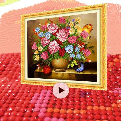 粉紅玫瑰5D鉆石畫圓鉆滿鉆3d點粘鉆貼鉆十字繡客廳新款水晶鉆石繡貼畫魔方鉆臥室方鉆磚石秀餐廳(畫布尺寸54*47厘米)