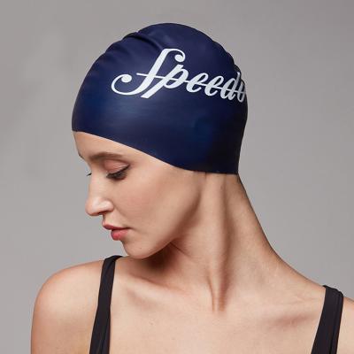 Speedo/速比濤男女 通用款標志印花貼合護發防水泳帽 硅膠泳帽