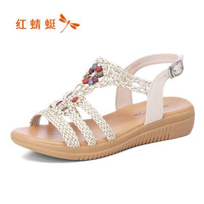 紅蜻蜓女鞋涼鞋女仙女風夏季新款坡跟中跟休閑百搭時尚編織女涼鞋