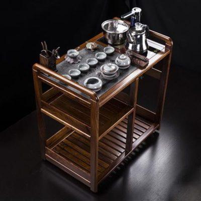 檀星星匯享花梨木可移動茶車烏金石茶盤實木帶輪茶臺水柜茶桌茶具套裝