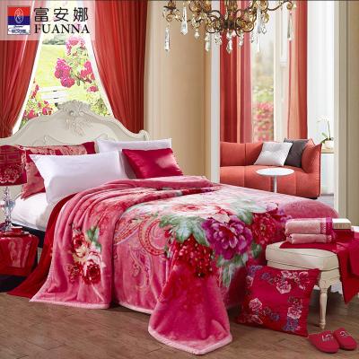 富安娜(FUANNA)家紡 毛毯婚慶紅色毯子午休午睡秋冬毯臻柔拉舍爾毯 伊人紅妝