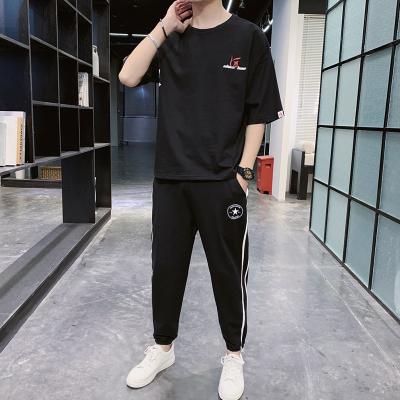 蒙洛里克2020夏季新款五分袖休閑套裝男時尚潮牌修身印花學生圓領衛衣短袖運動套裝 RKTZ221