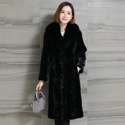 憨厚皇后 新款狐狸毛领时尚进口拼貂皮外套水貂毛貂皮大衣女装W