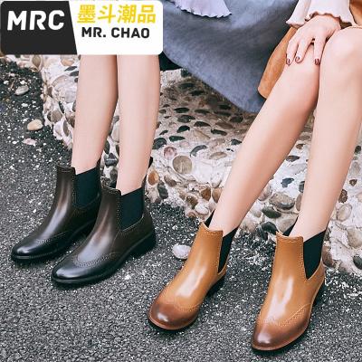 時尚款外穿雨鞋女雨靴成人加絨短筒防水鞋防滑切爾西水鞋女士膠鞋