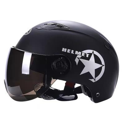 【默認發黑色,可備注發其他顏色】哈雷頭盔電動電瓶車摩托車頭盔安全帽男女士通用清涼夏季 哈雷款黑色 均碼