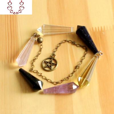 天然白水晶/紫水晶/水晶/藍沙石/黑曜石滴水靈擺 淘金幣 Chunmi