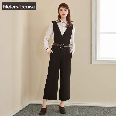 【3件1.5折价:40.4】美特斯邦威休闲裤女秋装新款黑色显瘦背带裤商场款