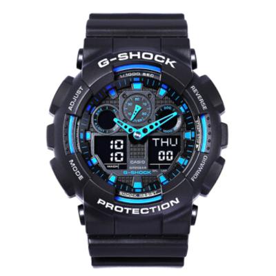 卡西歐(CASIO) G-SHOCK YOUTH男士200m防水數字;運動時尚電子表男 黑藍 GA-100-1A2