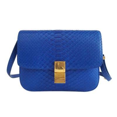 【正品二手95新】思琳(CELINE)CLASSIC 女士 中号电光蓝蛇皮 BOX包单肩斜挎包 含防尘袋