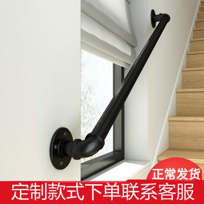 簡約風鐵藝樓梯扶手水管家用室內閣樓靠墻老人防滑幼兒園拉手歐式 長60離墻高7cm