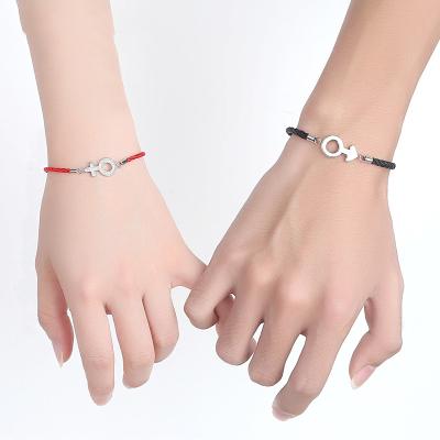 法蔻輕奢品牌情侶手鏈925銀可刻字紅繩男女一對日韓版簡約本命年紅繩生日