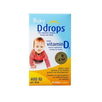 baby Ddrops 嬰兒維生素D3滴劑 400IU 90滴/瓶裝 原裝進口 0-2歲
