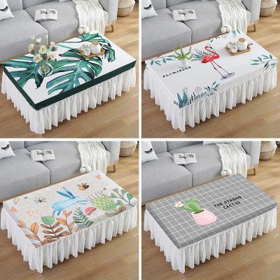 幸福派 北歐防水茶幾桌布蕾絲長方形客廳蓋巾餐桌防塵墊布藝全包茶幾套罩