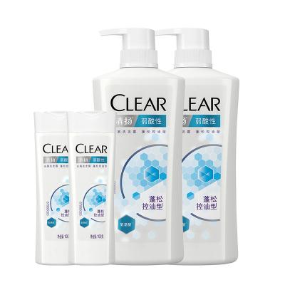 清揚(Clear)弱酸性去屑洗發露蓬松控油型洗護套裝(720X2+100X2)G【聯合利華】
