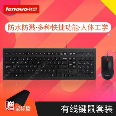 聯想(Lenovo)有線鍵鼠套裝M120Pro大紅點鍵盤鼠標套件USB接口家用辦公臺式機筆記本電腦通用防水104鍵多媒體