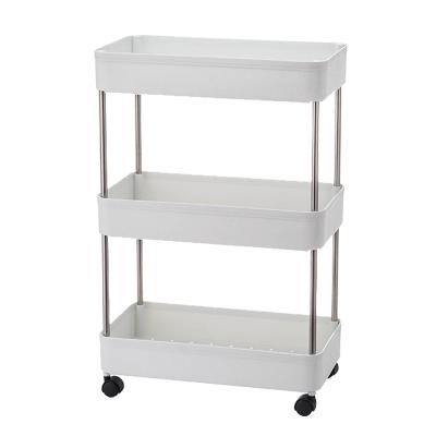 越茂(Vlush)廚房衛生間置物架落地小推車可移動帶輪浴室收納架臥室儲物架