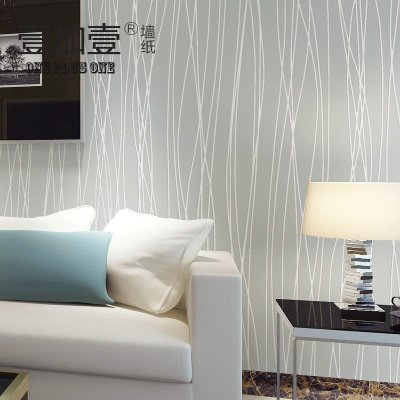 壹加壹簡約現代豎條素色 無紡布墻紙兒童房客廳臥室月光森林壁紙淺藍色