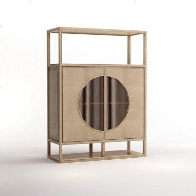 新中式實木置物柜餐邊柜 現代簡約儲物柜樣板房酒店禪意家具定制