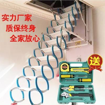 閣樓樓梯伸縮樓梯復式伸縮別墅室內家用折疊鋼木半自動升降隱形梯定制 加強700*1000