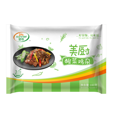 SUNNER圣農酸菜雞雜蓋澆飯料理包200g中式熟食 簡餐方便半成品食材 菜冷凍食品袋裝加熱即食快餐