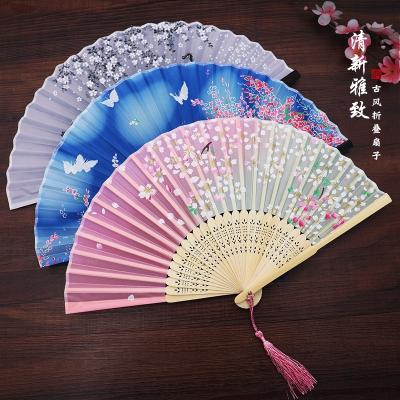 扇子折扇中国风女式古风流苏夏季随身古典古装古代汉服折叠小竹扇 05面若桃花