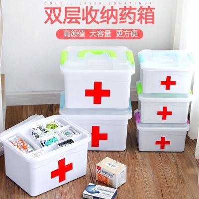 家庭裝小醫藥用多層急救藥品收納盒家用塑料兒童藥箱薬箱出診弧威
