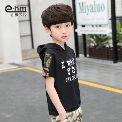 童装男童连帽短袖T恤儿童迷彩短袖夏装新款中大童潮