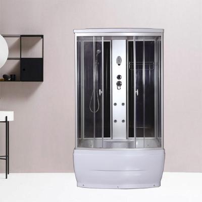 淋浴房整体一体式长方形家用沐浴间封闭式钢化玻璃浴室移动洗澡间 120*85*215黑色高盆带电 含蒸汽