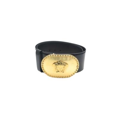 【二手95新】Versace/范思哲 黑+金色超亮眼的美杜莎金头男士腰带皮带 宽8*全长100cm