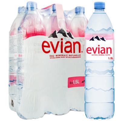 【產自法國】依云(evian)礦泉水 1.5L*6瓶/箱 進口飲用水 礦物質水 法國進口