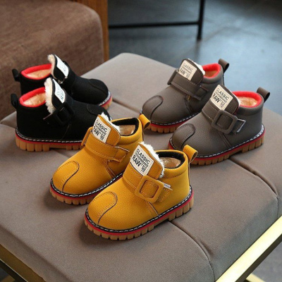 飞言冬季儿童雪地靴女童加绒加厚棉鞋男童保暖马丁靴宝宝平底防滑短靴【10月5日完】