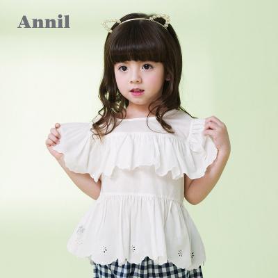 安奈兒童裝女童繡花圓領短袖襯衫夏季新款女寶寶上衣洋氣襯衣