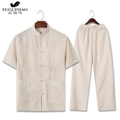 富貴鳥(FUGUINIAO)夏季短袖棉麻套裝中老年人唐裝男中國風中年爸爸夏裝老人衣服爺爺