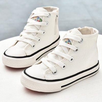 蜡比小星童鞋儿童小白鞋高帮2019秋季男女童帆布鞋白布鞋宝宝鞋子