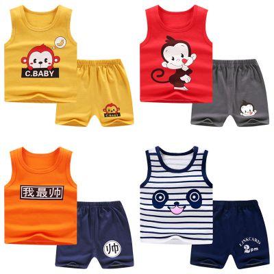 兒童背心套裝純棉寶寶無袖T恤短褲0-7歲男童女童睡衣嬰兒衣服夏裝