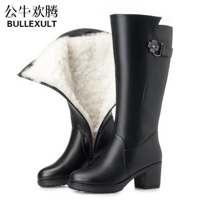 公牛歡騰2019冬季中筒靴中跟皮毛一體女靴保暖羊毛中長靴真皮粗跟加絨媽媽女鞋