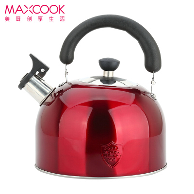 美廚 304不銹鋼燒水壺 4L鳴音水壺 熱水壺 煤氣爐電磁爐通用 酒紅色歐式系列 MCWA560