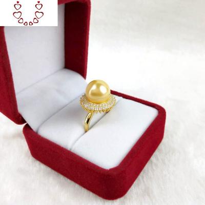 金色大珍珠裝飾戒指母貝珍珠食指戒指開口女單顆復古夸張鑲鉆指環 Chunmi珍珠戒指