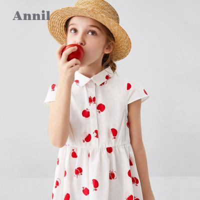 安奈兒童裝女童連衣裙短袖2020夏季新款復古風輕薄洋氣中大童裙子