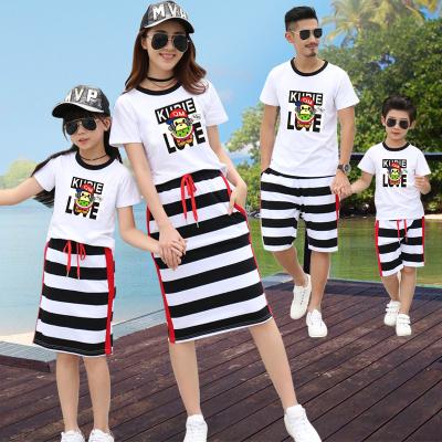 亲子装夏装条纹棉家庭套装一家三口卡通韩版母女母子沙滩装