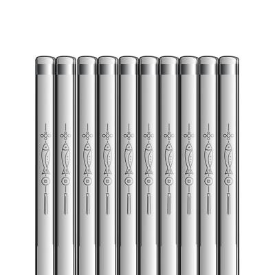 雙槍筷子家用防霉防滑官方旗艦店筷子10雙裝316不銹鋼筷子套裝年年有余方筷