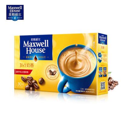 官方授权麦斯威尔咖啡特浓奶香速溶三合一咖啡粉30条390g盒装