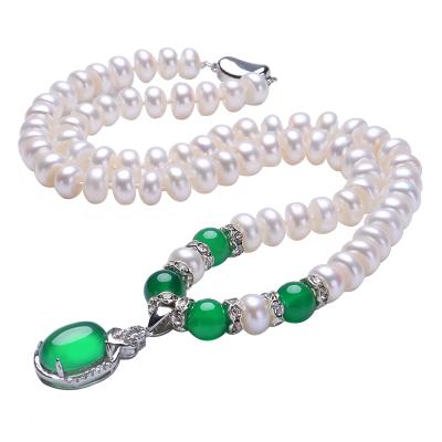月印百川 绿玉髓淡水珍珠项链 女款馒头珠镶嵌玉髓颈饰品 附送证书